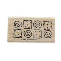 Whimsical Border Pattern Swirls and Squares Wooden Rubber Stamp