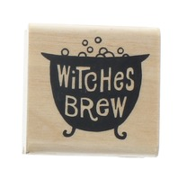 A Must Artstamps Witches Brew Cauldron  Wooden Rubber Stamp