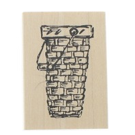 Judith E-166 Easter or Flower Basket Wooden Rubber Stamp