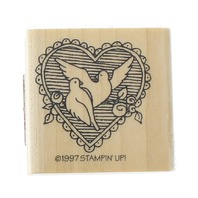 Stampin Up 1997 Love Birds in a Wedding Heart Easter Wooden Rubber Stamp