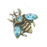Vintage Style Brass Toned Bumble Bee with Rhinestone Bling Hat Lapel Pin