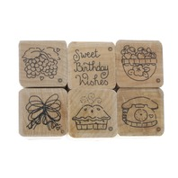 Set of 6 Lot Sweet Birthday Wishes Wooden Rubber Stamp