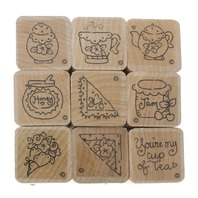 Set of 9 Your my Cup of Tea Wooden Rubber Stamp