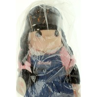 Precious Moments Annie in Denim Bib Overalls Doll Plush