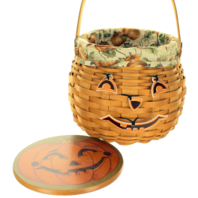 Longaberger 2001 Pumpkin Patch Basket with Liner, and Wooden Lid