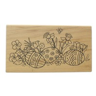 Great Impressions H71 Easter Eggs and Tulips Wooden Rubber Stamp