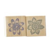 Hero Arts Sketched Bloom Garden Flowers Pair of Wooden Rubber Stamp