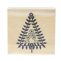 Triangle Tree Whimsical Flowers Blooming Spring Craft Smart Wooden Rubber Stamp