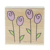 Katie and Co Whimsical Tulip Garden Flowers Wooden Rubber Stamp