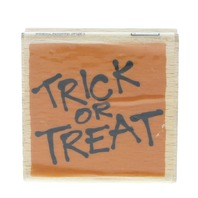 Trick or Treat Words Writing Halloween Vap Scrap Wooden Rubber Stamp