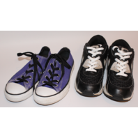 Youth Girls Shoe Lot Sz 2 Converse & Sz 3 Nike