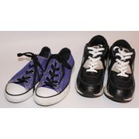 Youth Girls Shoe Lot Sz 2 Converse & Sz 3 Nike