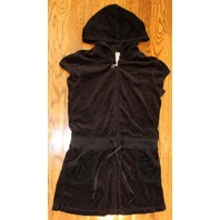 Girls Justice Sz 12 Hooded Swim Suit Cover Up Black Zip