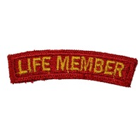 Life Member Red and Yellow Rocker Bar Uniform Patch