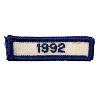 1992 Year of Membership Blue and Wite Bar Uniform Patch