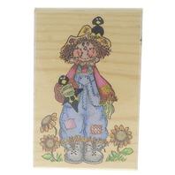 Stamp Affair Friendly Garden Scarecrow Wooden Rubber Stamp