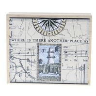 Art Prints Lighthouse Romantic Traveling Collage Wooden Rubber Stamp