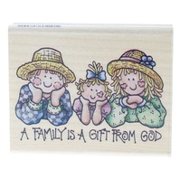 Rubber Stampede A Family is a Gift from God Wooden Rubber Stamp