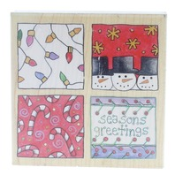 Stamps Happen Paula Best Christmas Squares Season Greetings Wooden Rubber Stamp