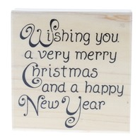 Stampabilities Wishing you a Merry Christmas Happy New Year Wooden Rubber Stamp