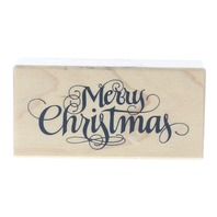 Merry Christmas F-1215 Cursive Writing Wooden Rubber Stamp
