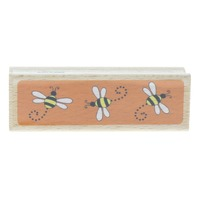 Katie and Co Bumble Bee Insect Border Wooden Rubber Stamp