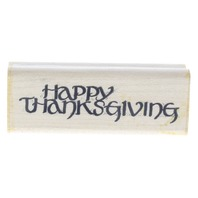 Happy Thanksgiving Dots 1989 Wooden Rubber Stamp