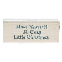 Brother Sister Have Yourself a Cozy Christmas Wooden Rubber Stamp