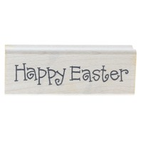 Imaginations Happy Easter Words Writing Wooden Rubber Stamp