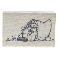 Horn of Plenty and thankful Dots Thanksgiving Wooden Rubber Stamp