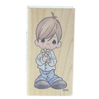 Precious Moments Stampendous 1995 Little Boy with Flower Wooden Rubber Stamp