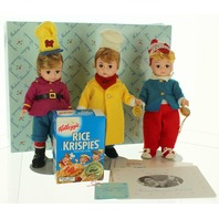 """Madame Alexander Snap Crackle and Pop with Outfit 8"""" original box 12120"""