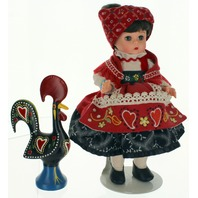 """Madame Alexander 8"""" Wendy Colorful Portugal Doll & Wood painted Rooster set-MINT"""