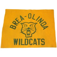 High School Letterman Jacket Felt Square Flag Brea-OLinda Wildcats School Spirit