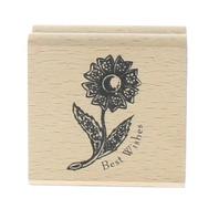 Greenbrier International Best Wishes Daisy Flower Wooden Rubber Stamp