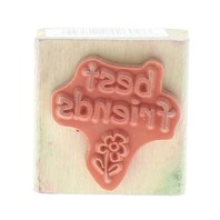 Best Friends with Daisy Flower words writing Wooden Rubber Stamp