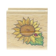 Stampcraft Sunflower with a Ladybug Wooden Rubber Stamp