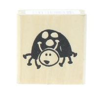 Playful little Ladybug Wooden Rubber Stamp