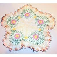 "Delicate Daisy Flower Lettuce Edge Crochette Doily Large Size 16"" x 18"""