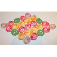 "Multi colored Floral Diamond Shape Crochette Doily  Size 18"" x 11"""