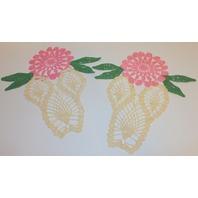 Floral Tulip Shape Dresser Scarf Set of 3 Crochette Doily