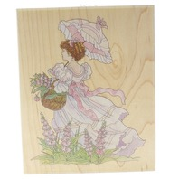 Stamps Happen Inc. Victorian Girl with a Parasol and Flowers Wooden Rubber Stamp