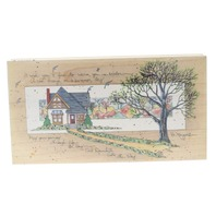 D Morgan Downhill all the Way House Tree Scene Wooden Rubber Stamp