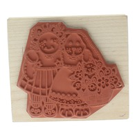 Imagine That Girl and Bunny with Flower Basket Wooden Rubber Stamp