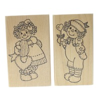 Raggedy Ann and Andy Pair of Dolls Wooden Rubber Stamp