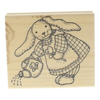 Imagine That Bunny Rabbit with Watering Can Wooden Rubber Stamp