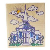 Inkadinkado Church with Vining Ivy Clouds and Sunshine Wooden Rubber Stamp