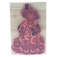 Friendly Scarecrow 1995 Mary Helen Gould Wooden Rubber Stamp