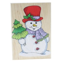 Hero Arts Jumbo Happy Friendly Snowman Wooden Rubber Stamp