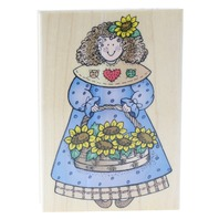 Hero Arts Sunflower Gal Girl with Basket of Flowers Wooden Rubber Stamp